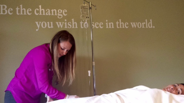 Me receiving IV-Vitamin C last year from my naturopath, Brenda Tapp.
