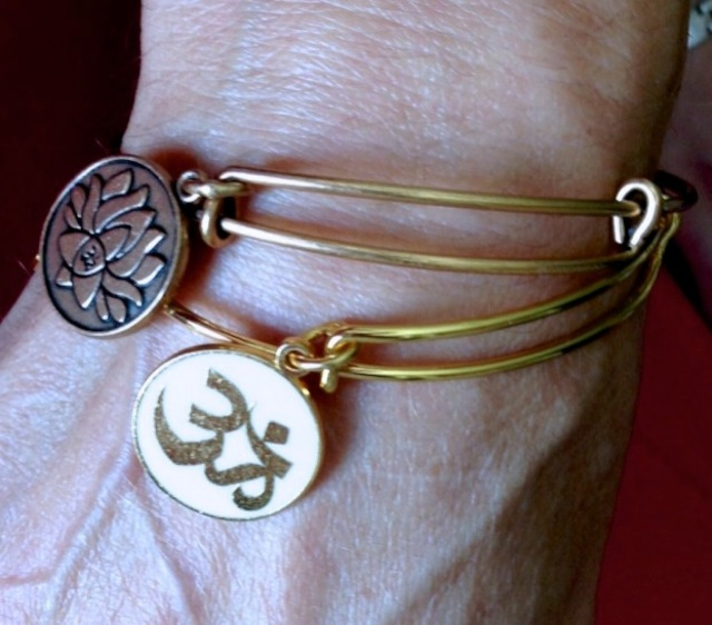 Alex & Ani bracelets:  Embrace the Power of Positivity Lotus Peace Petals (Illumination/Beauty/Resilience + OM (Creation/Oneness/Truth