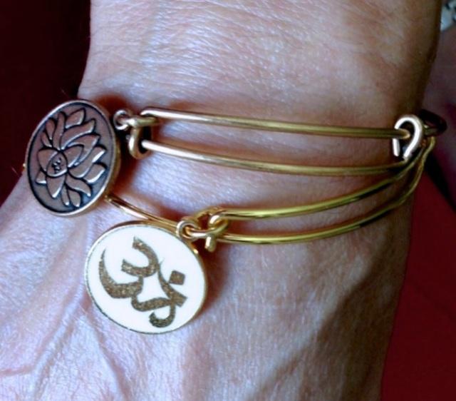 Alex & Ani bracelets:  Embrace the Power of Positivity Lotus Peace Petals (Illumination/Beauty/Resilience + OM (Creation/Oneness/Truth